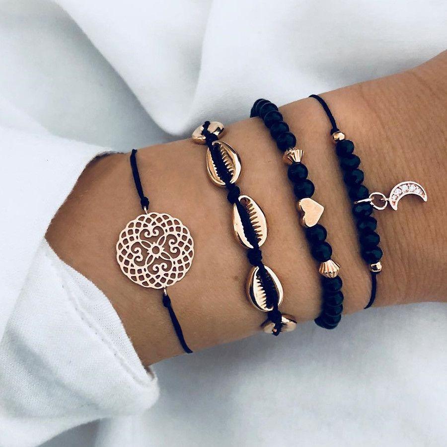 Aliexpress Com Buy Diezi Bohemian Flower Moon Charm Black Beaded Bracelets Sets For Women Fashion Chain Pulseras Simples Pulseras Bonitas Pulseras De Joyería