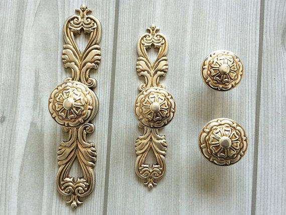Shabby Chic Dresser Drawer Knobs Pulls Handles Antique Silver Kitchen  Cabinet Knobs Handles Pull Ornate Knob