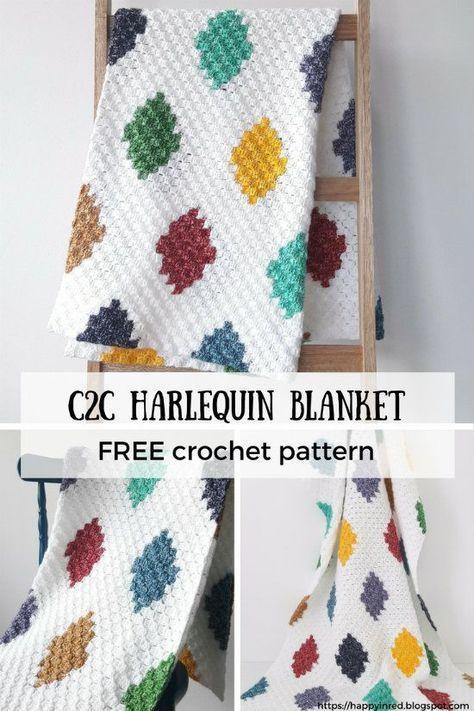 C2C harlequin blanket, free crochet pattern | Scrap happy ...