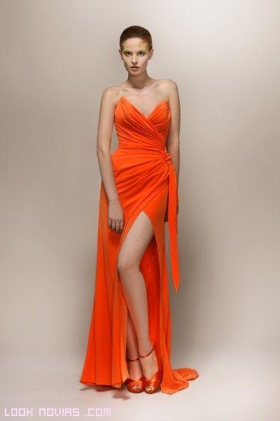 Vestidos de noche en color naranja