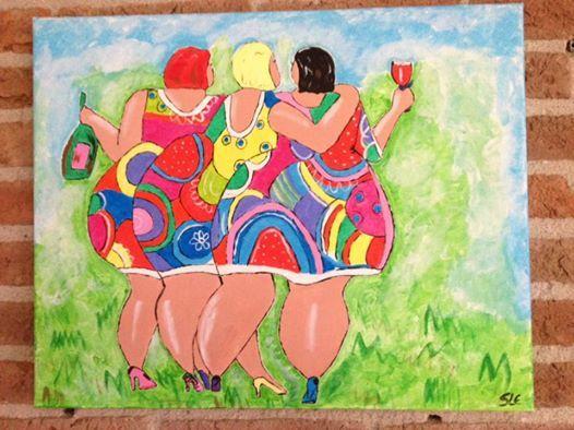 Gezellige dikke Dames op Canvas