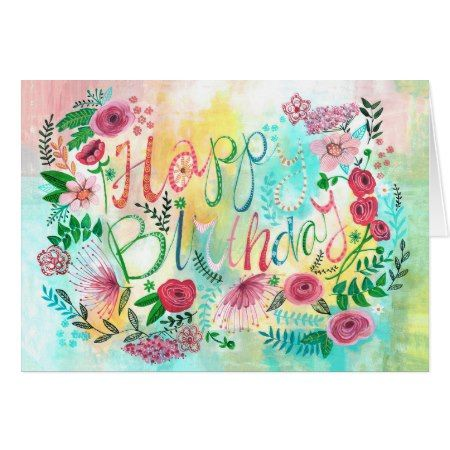 Happy Birthday Spring Flowers Greeting Card Birthday Party Ideas