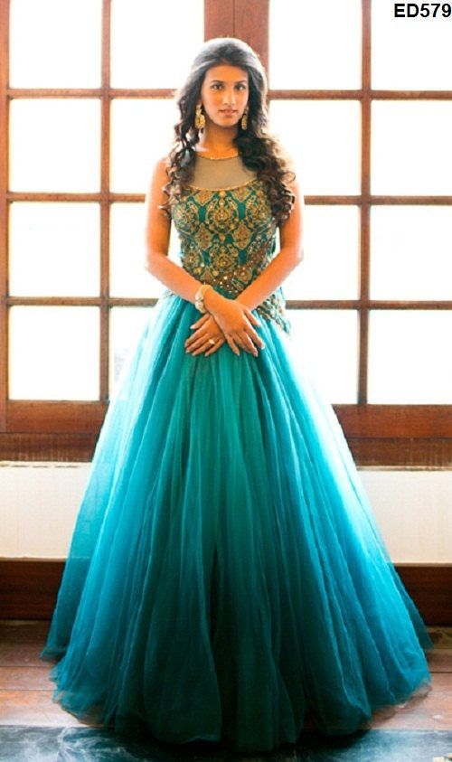 Baby Doll Style Anarkali Frock Glorious Designer Hand Embroidery Net ...