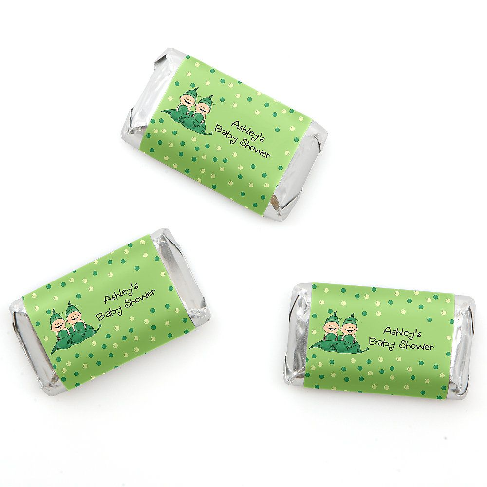 Twins Two Peas in a Pod - Personalized Baby Shower Mini Candy Bar ...