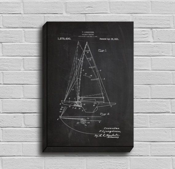 Canvas sailboat patent sailboat poster sailboat blueprint canvas sailboat patent sailboat poster sailboat blueprint sailboat print sailboat art malvernweather Image collections