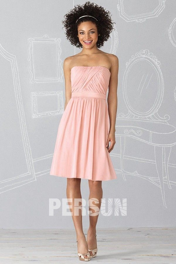 robe demoiselle d 39 honneur rose courte genoux bustier ruch pale pink bridesmaids. Black Bedroom Furniture Sets. Home Design Ideas