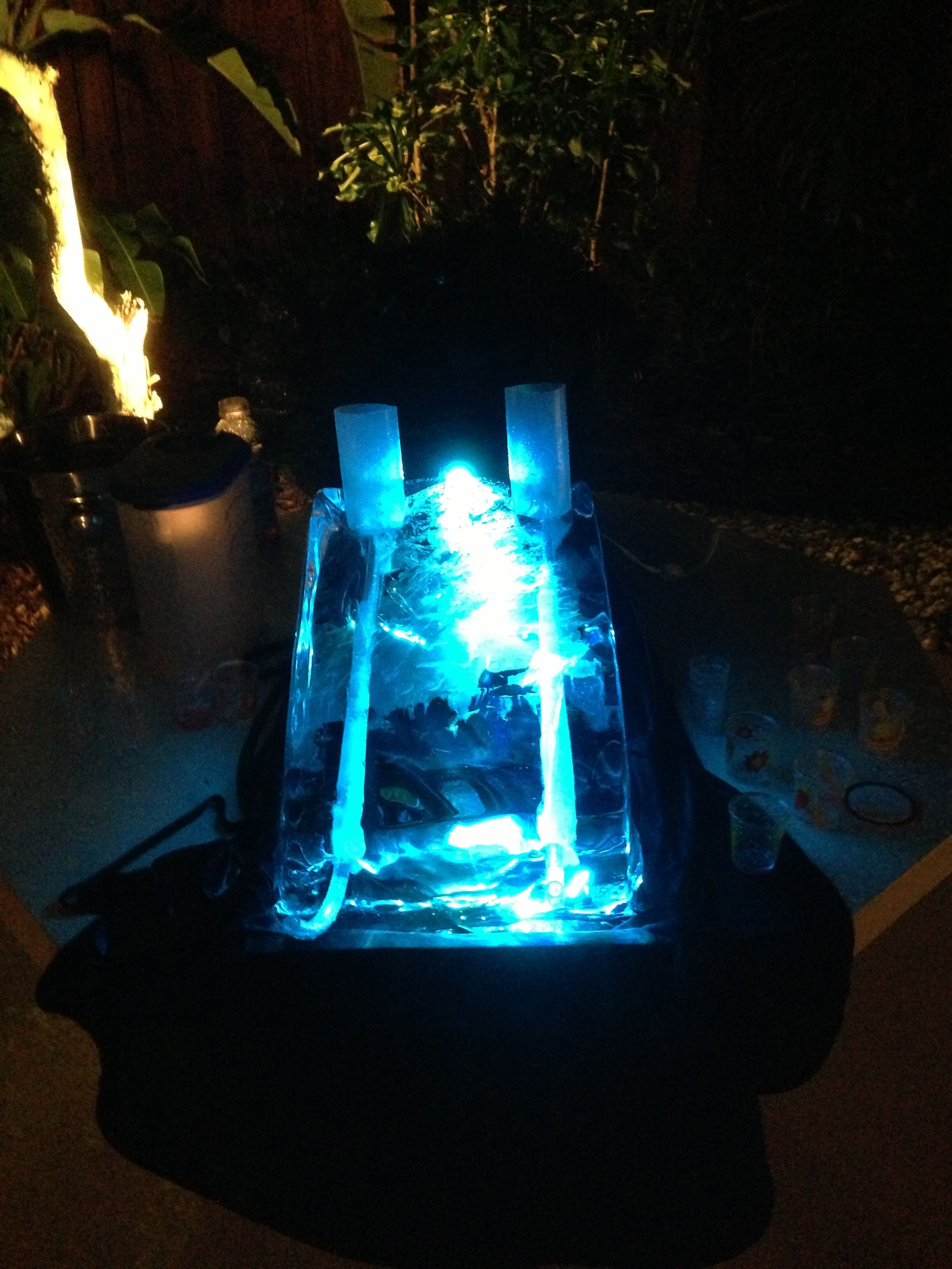 Make DIY ice shot luge for parties for $15. Bought 50lb ice block ...