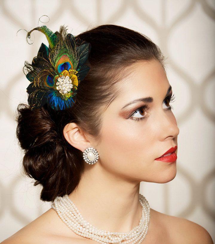peacock feather hair clip fascinator bridal head by gildedshadows