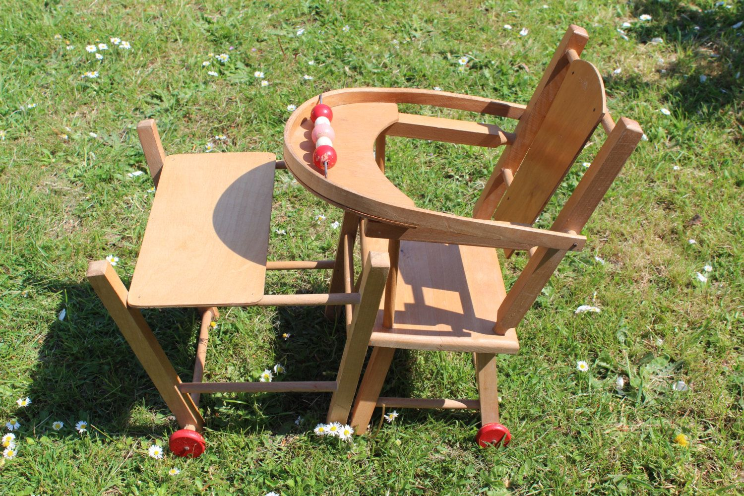Dolls high chair 1960s wooden toddler toy vintage