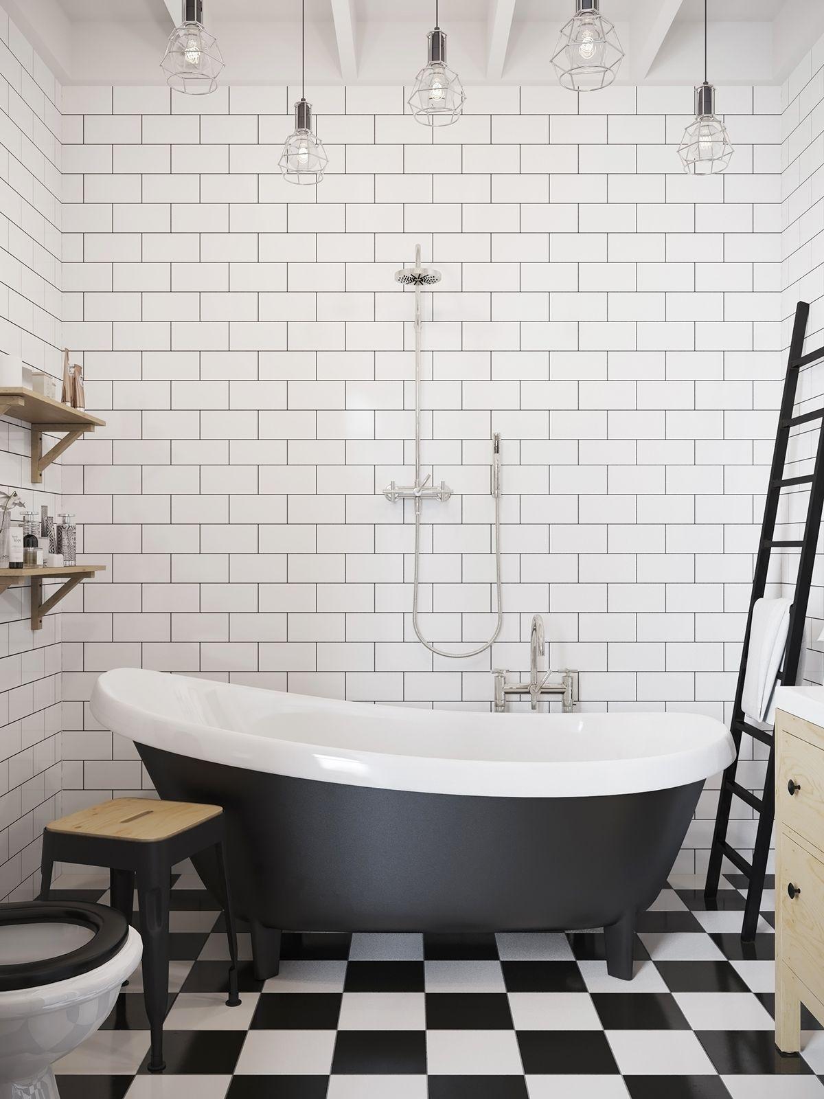 Rustikale badezimmerdekorideen schickes skandinavisches studioapartmentdesign mit loftbett das