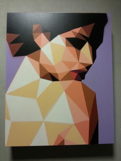 Artemis / Spray paint on wood panel / 24x30cm by Gareth Morgan, currently in Guerilla Galleries catalogue.