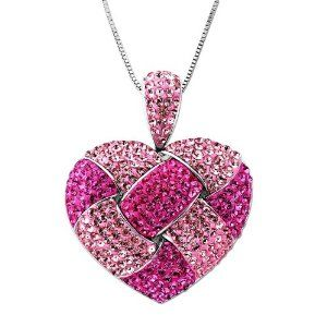 """Carnevale Sterling Silver Pink Heart Made with Swarovski Elements Pendant Necklace, 18"""""""