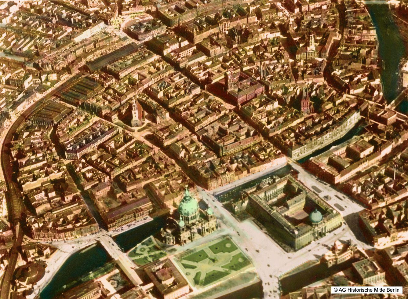 Historische Mitte Berlin Luftaufnahme Coloriert 1920 Stadtschloss Luftaufnahme Luftbild