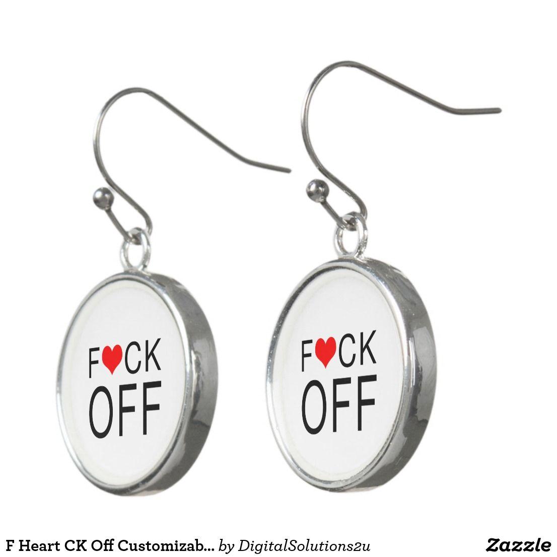 F Heart Ck Off Customizable Earrings