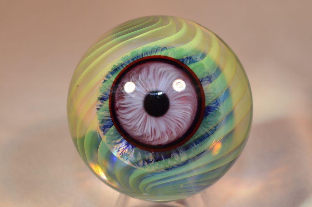 John Bridges 2013 Blue Marble Art Glass Art Glass Paperweights