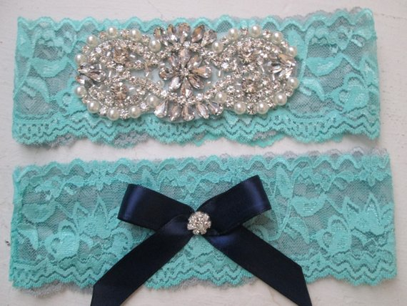 Teal Blue Gray Navy Blue Wedding Garter Set Aqua And Silver