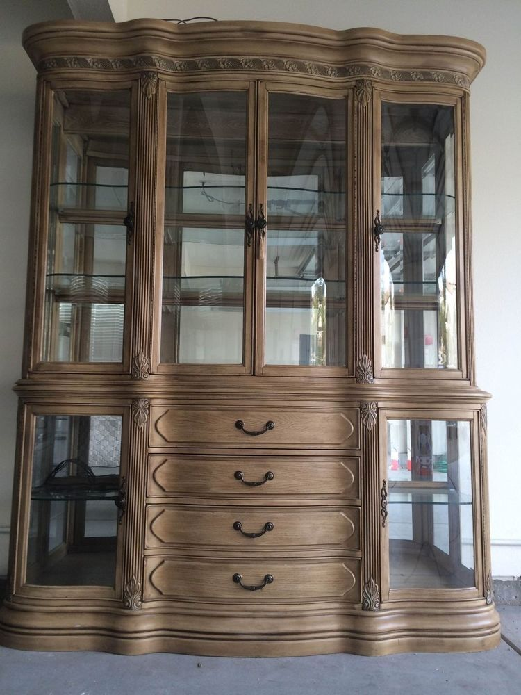 Vintage Light Wood Tone Grand China Display Cabinet With Reflective Backing  #AICO