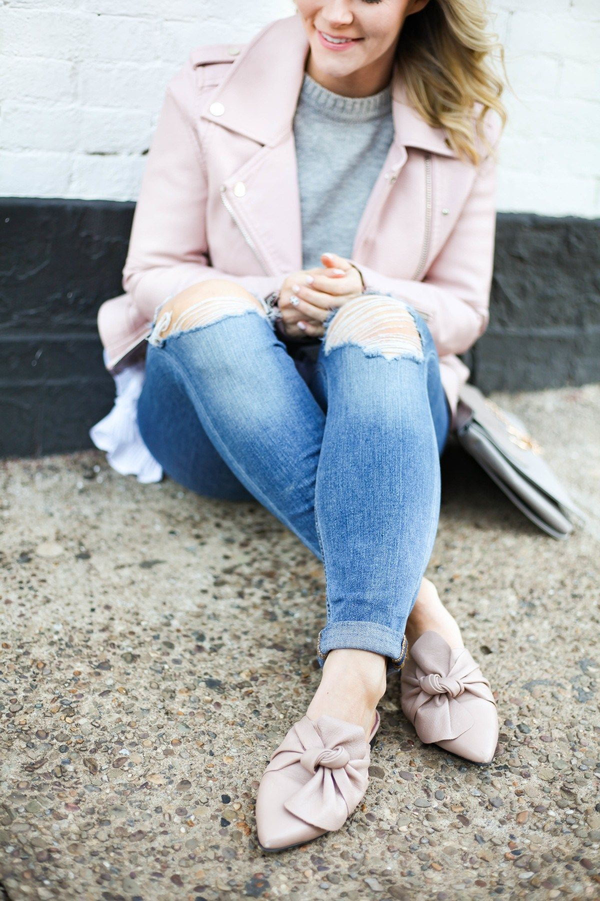 2f2d2f659dd371 Spring transition pieces - Topshop bow mules - blush- Joe s Distressed Jeans