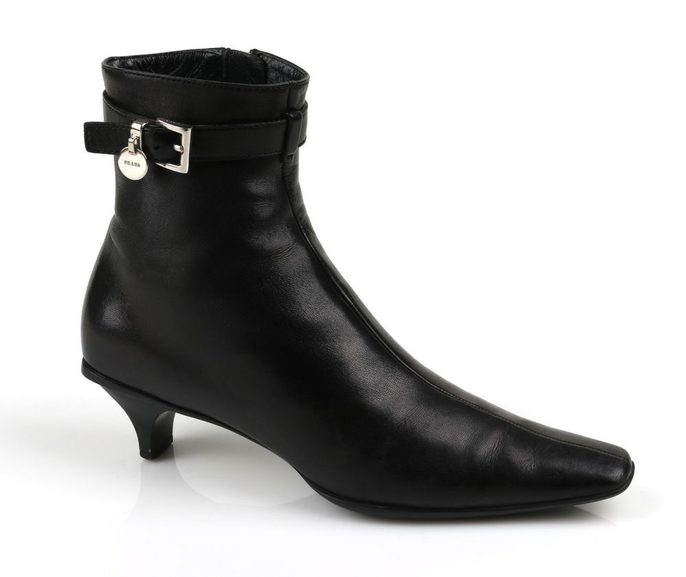 Prada Black Leather Kitten Heeled Side Zip Ankle Boots Sz 36 6 Prada Fashionankle