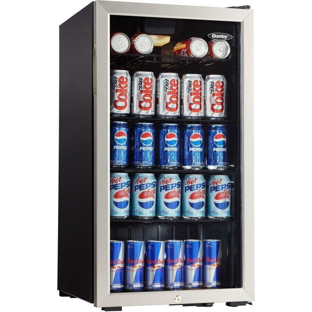 Danby Beverage Center Stainless Steel Mini Fridge Refrigerator Beer Can Cooler