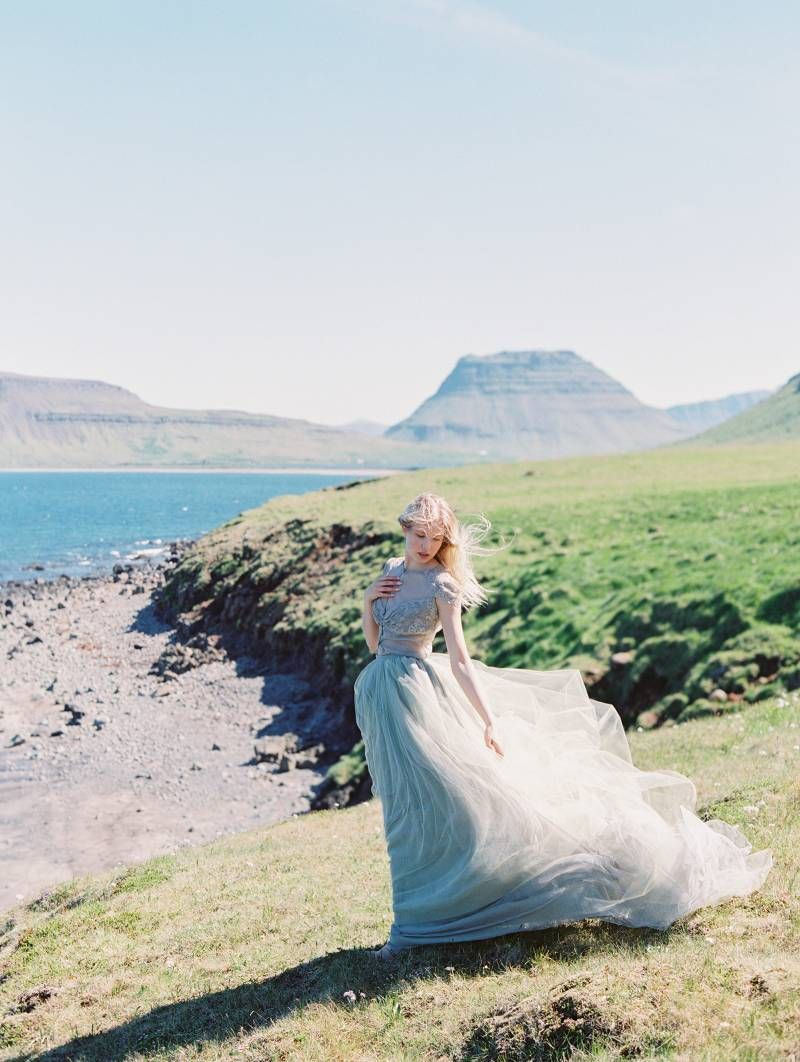 Modern iceland bridal inspiration in shades of blue via magnolia