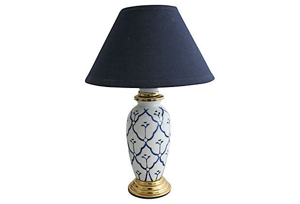Petite Blue White Lamp White Lamp Lamp Gold Dining