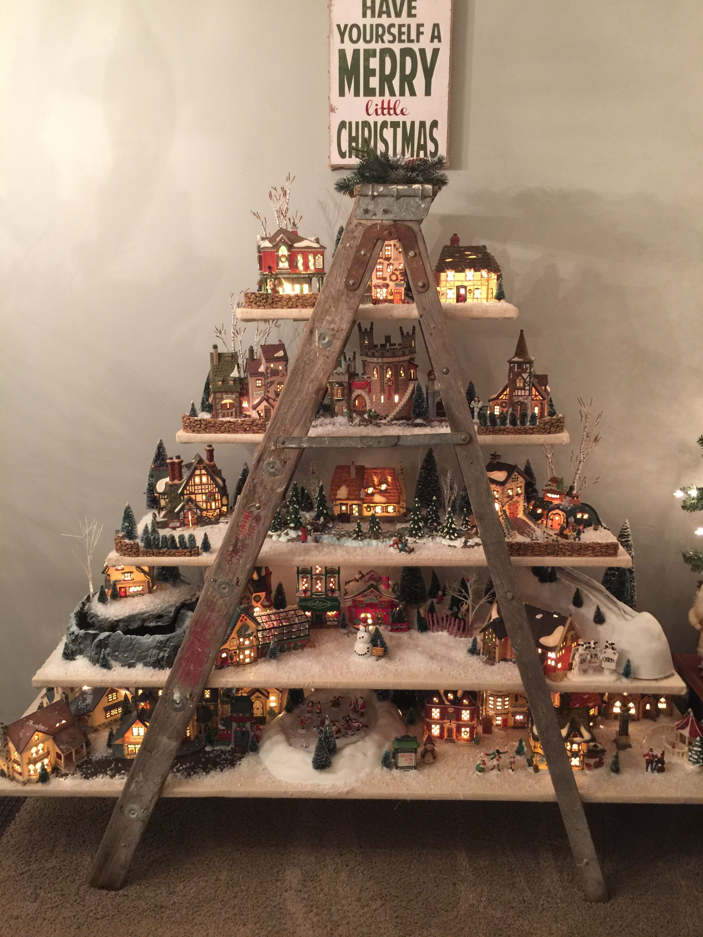 56 christmas village ladder display - Christmas Village Decorations