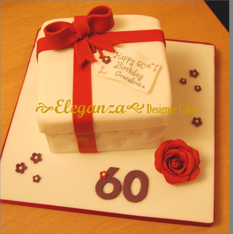60th birthday gift box cake