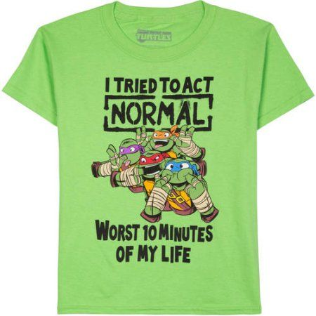 dc3b78e0a Teenage Mutant Ninja Turtles Tried To Act Normal Boys Graphic Tee, Size:  2XL (18), Green
