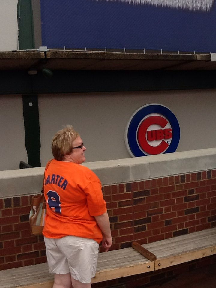 Ny Met fan, me of course , visiting Chicago . August 2014. Next time, I want to go to see the baseball stadium inside ! ⚾️