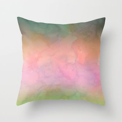 Waterscape 001 Throw Pillow BY SchatziBrown #watercolor #ombre #pastel