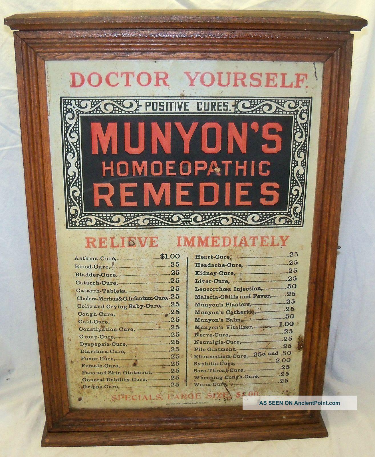 Kent Medicine Cabinet Old Antique Munyons Remedies Medicine Oak Country Store Display