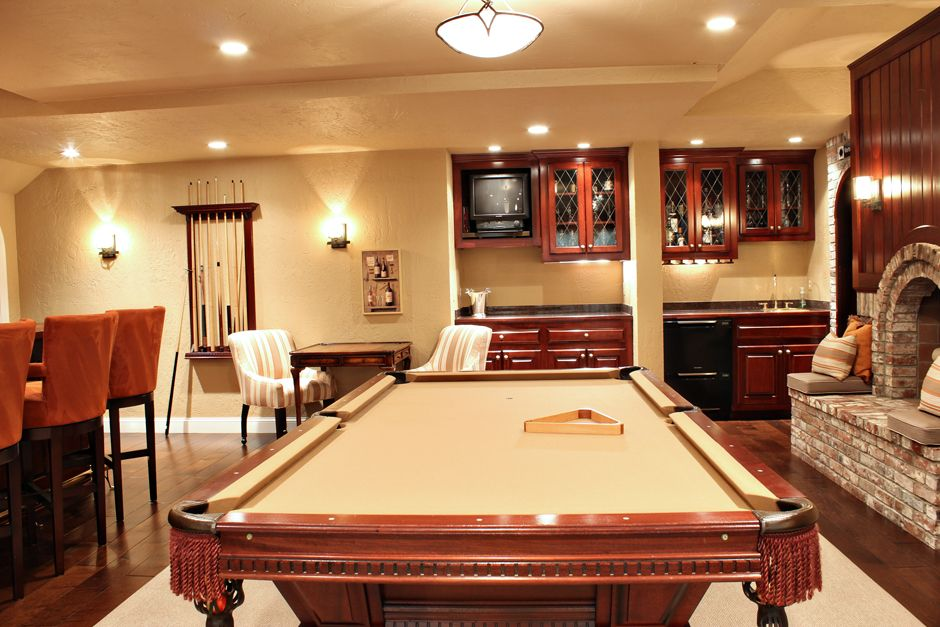 The Pool Table Was Finished In A Beautiful, Golden Tan Felt. This  Non Traditional Choice Was A Custom Installation.