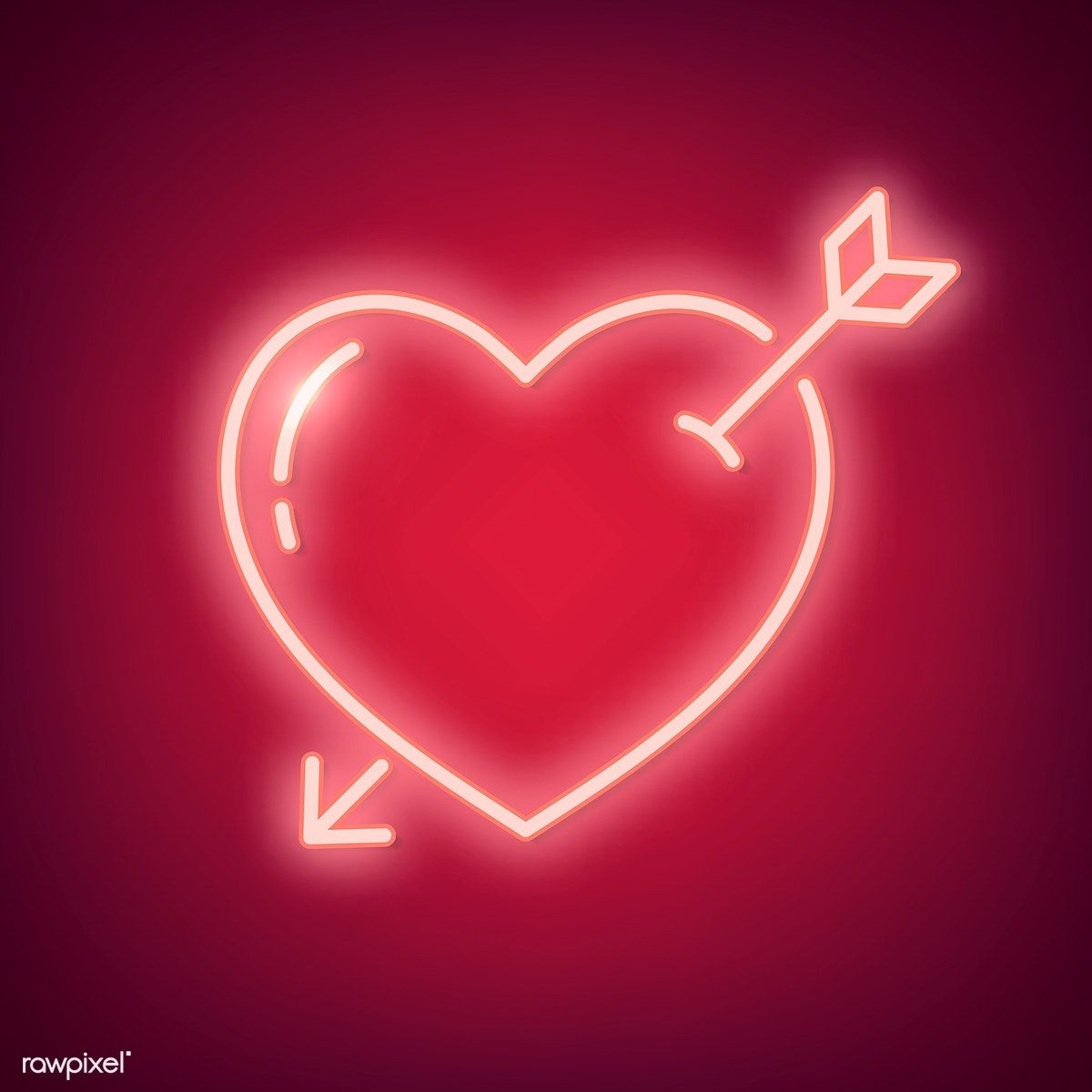 Download free illustration of Neon light heart icon on red