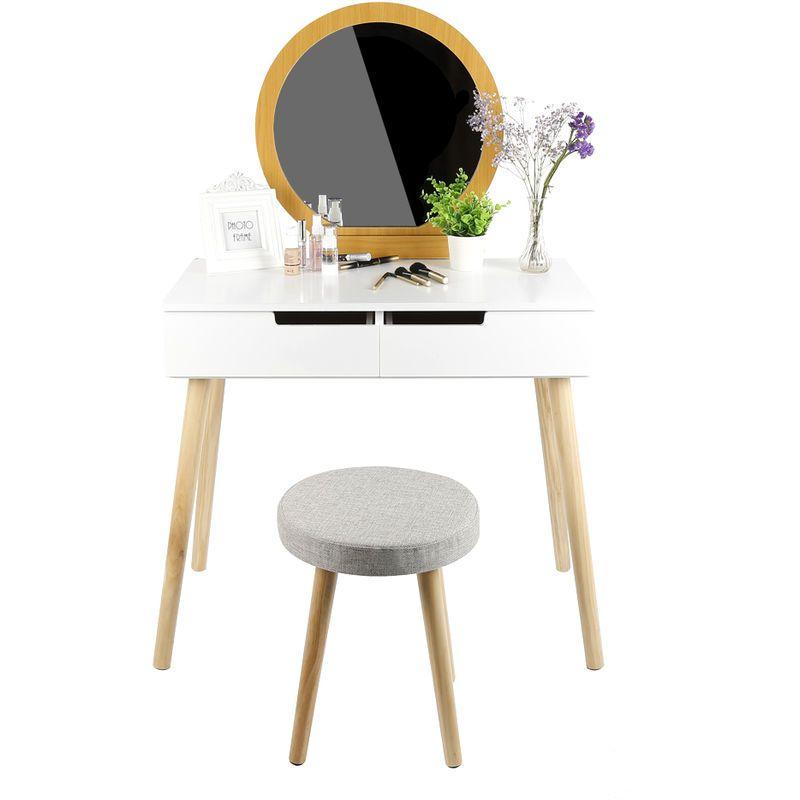 Jeobest Coiffeuse Moderne Table De Maquillage L 80 X H 128 Cm Miroir Rond 2 Tiroir Bois Et Blanc En 2020 Coiffeuse Moderne Coiffeuse Meuble Moderne Deco Chambre Bois
