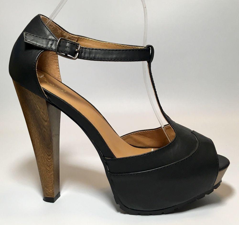 d5392e01fb7 Qupid Black T-Strap Peep Toe Faux Leather Strappy Platform Heels ...