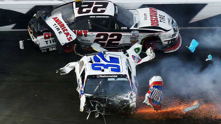 Final Laps Stewart holds to win after big crash at finish