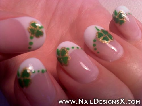Four Leaf clover nail art - Nail Designs & Nail Art - Perfect for St. Paddy's Day!