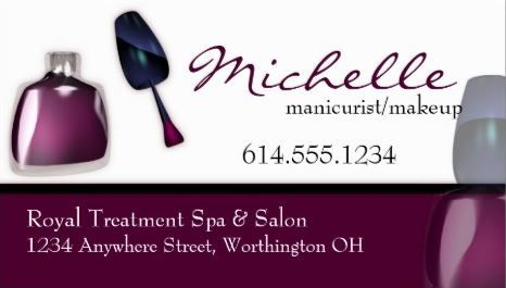 Purple Nail Polish Manicurist and Makeup Artist Business Cards ...