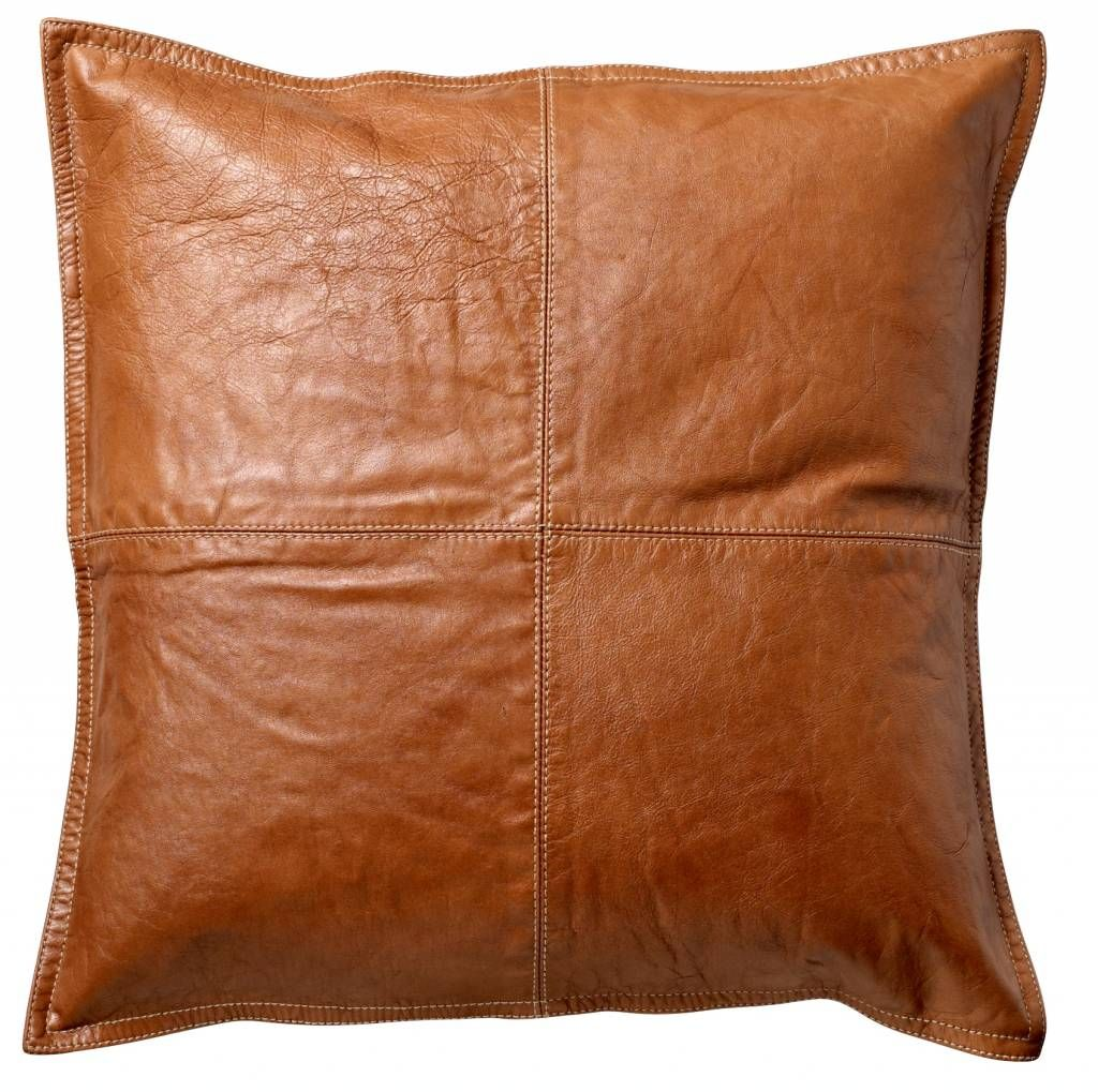 cowhide sofa throws mexican bloomingville cushion of brown leather 45x45cm