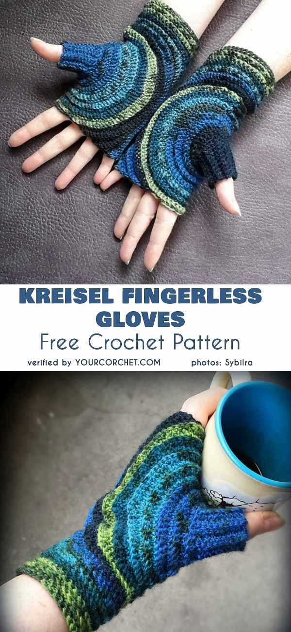Kreisel Fingerless Gloves Free Crochet Pattern #gloves