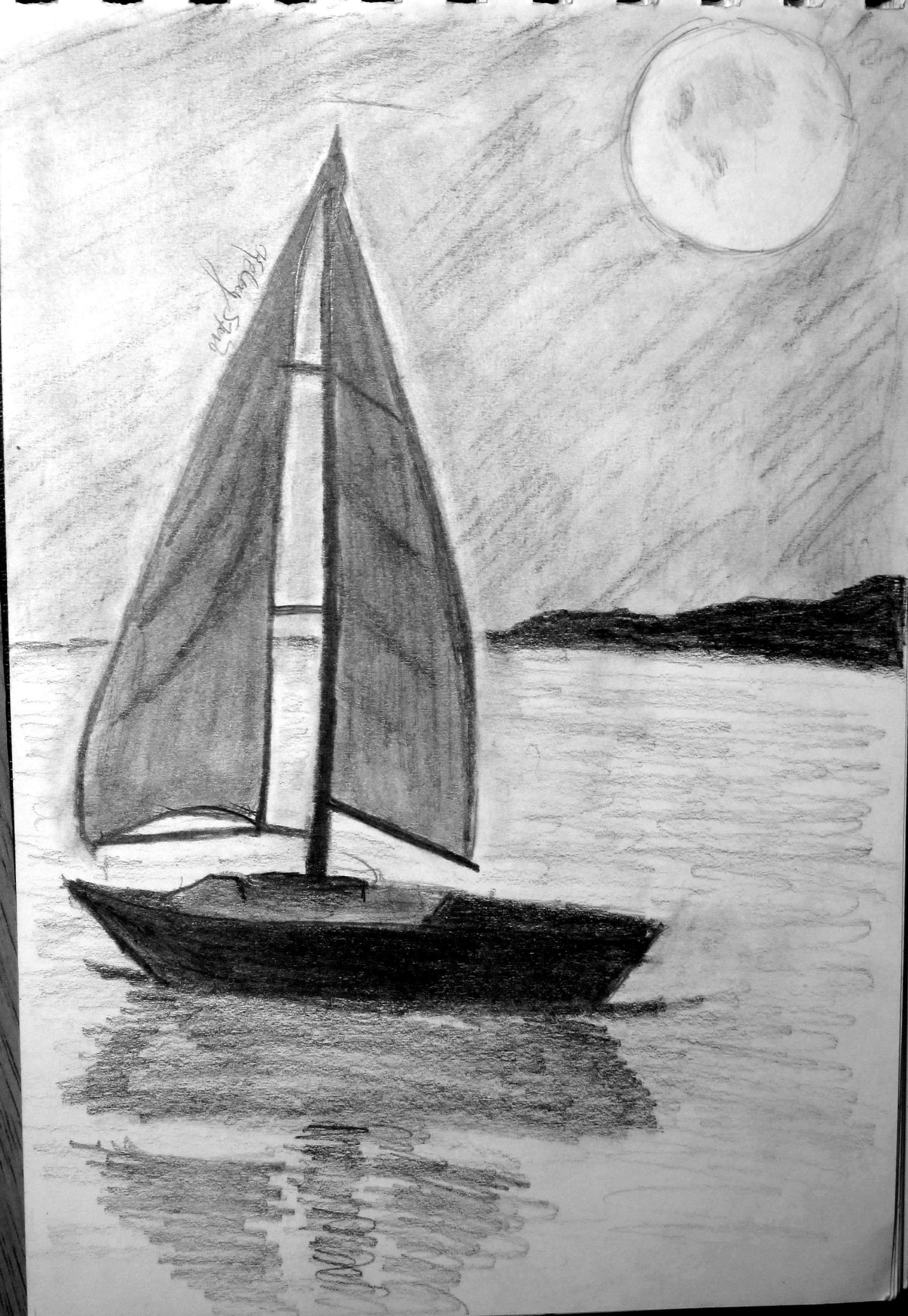 Sailboat sketch... -Kelsey S. | Pencil art drawings, Art ...