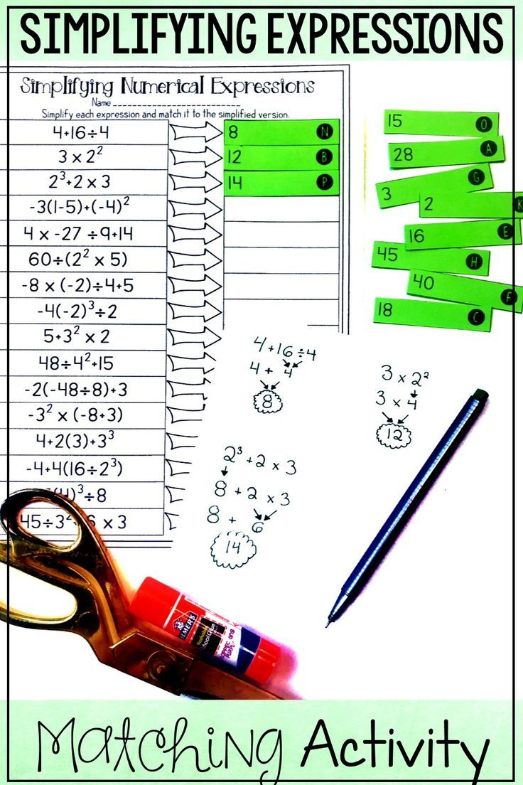 Order of Operations Matching Activity Order of