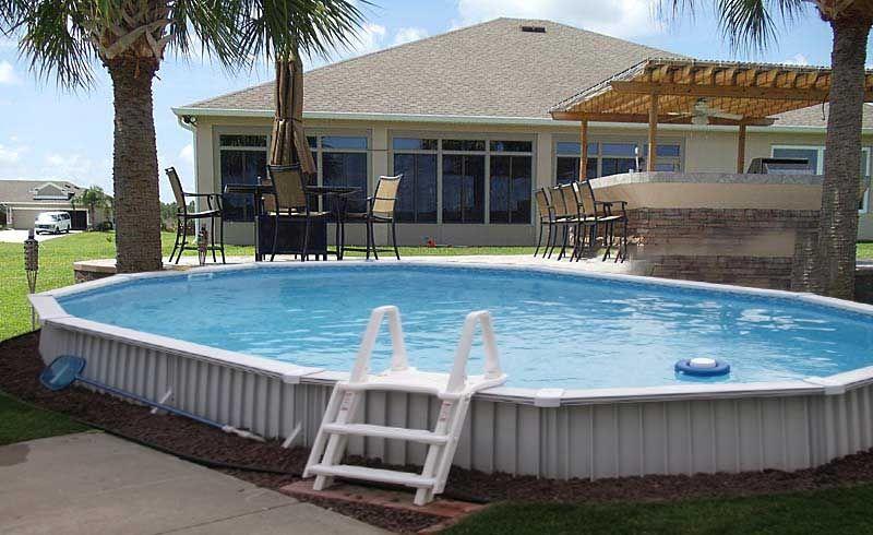Aquasport 52 pool 12x24x52 semi inground package oval - Small above ground swimming pools ...