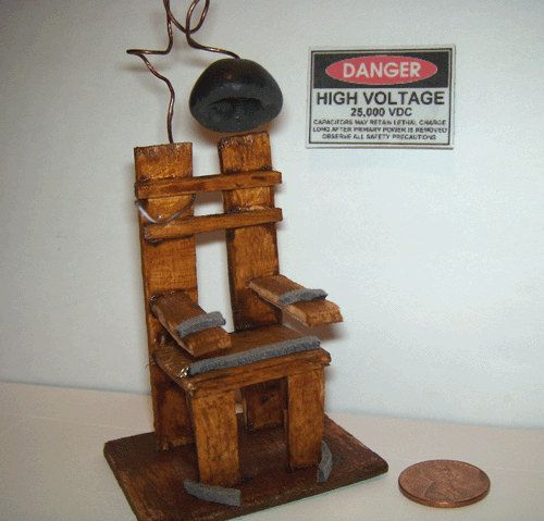 electric chair dollhouse miniature spooky gothic halloween horror haunted house via. Black Bedroom Furniture Sets. Home Design Ideas