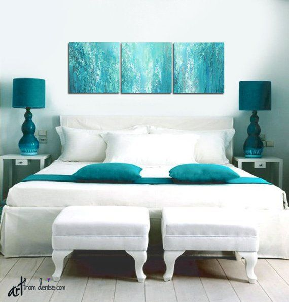 3 Piece Wall Art Canvas Abstract Multi Panel Teal Wall Art Etsy Teal Wall Art Floral Wall Art Canvases Bedroom Pictures Above Bed