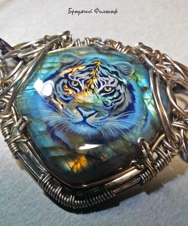 cat a big cat tiger Pictures on stone Lacquer miniature Miniature ...