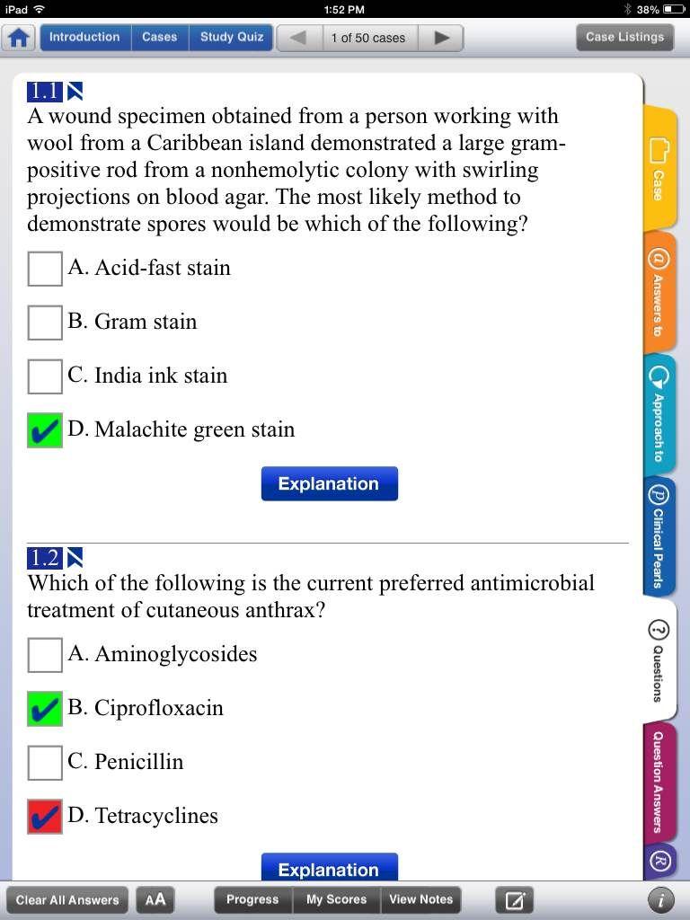 Case Files: Microbiology App - Case Quiz sample screen - Download