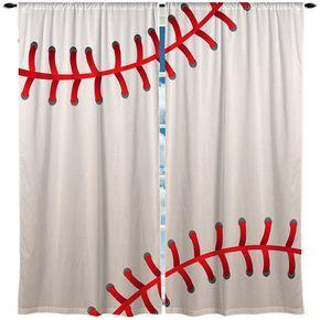 Baseball Window Curtain Valance Stitches Theme Bedroom Curtains Valances