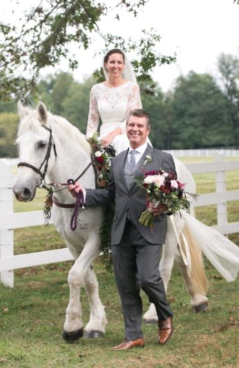 The bride rode in on a white horse.